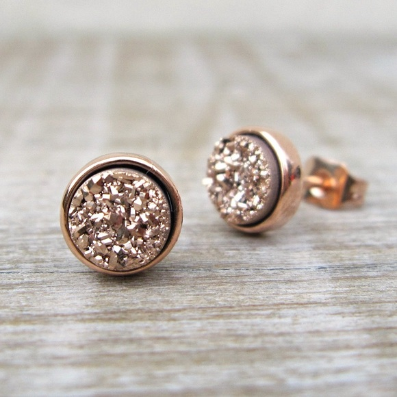 c072a12fd Jewelry | Rose Gold Druzy Earring Studs From Etsy | Poshmark